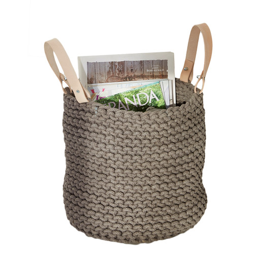 basket with leather handles, woven basket, decorative basket