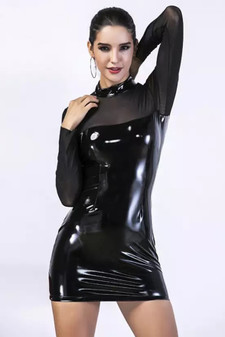 pvc dress with see through sheer mesh