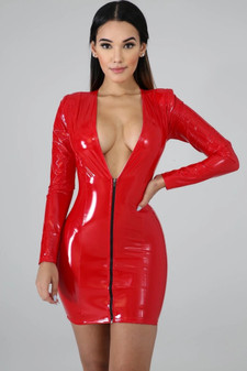 red vinyl dress