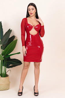 Vinyl PVC Cutout Mesh Red Mini Dress