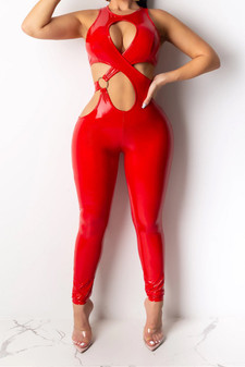 red vinyl jumpsuit