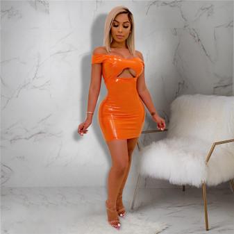 Hot Orange Cutout Vinyl Mini Dress