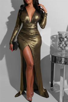 Metallic Deep High Split Long Dress