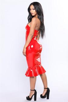 Red Vinyl Fishtail Knee Length Dress