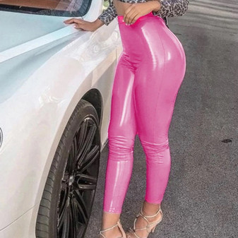 pink vinyl leggings