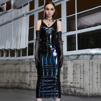 long pvc dress