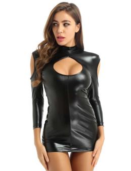 Black Spandex Bodycon Peephole Mini Dress