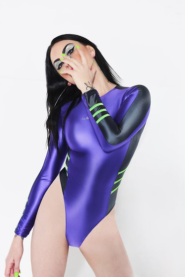 Spandex Purple Hydrasuit Rear Zipped Japanese Swimsuit