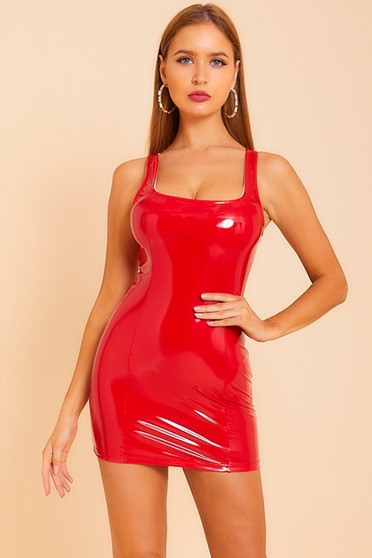 red latex look dress