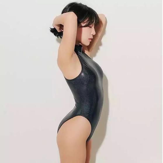 Black Glitter High Neck Japanese One Piece Swimsuit Rear Zip