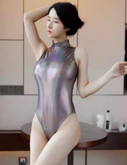 Bronze Reflective High Neck Japanese One Piece Swimsuit