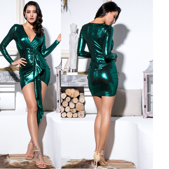 Metallic Green Ruffled Sash Mini Dress