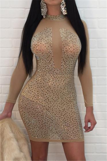 gold sheer dress