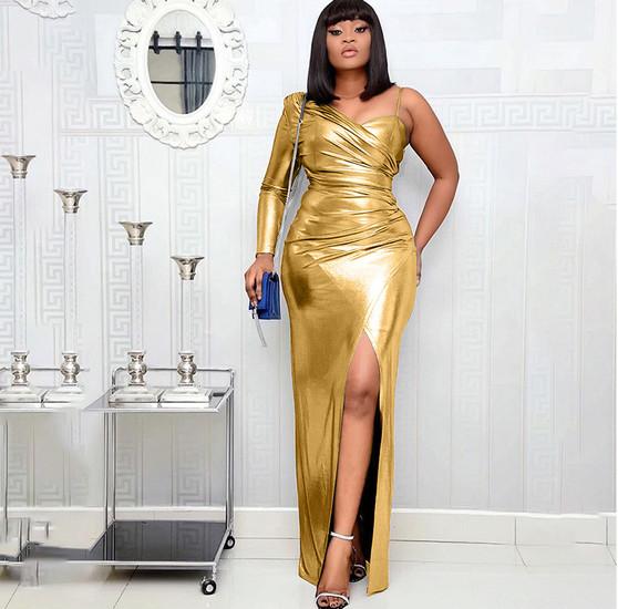 gold lame dress