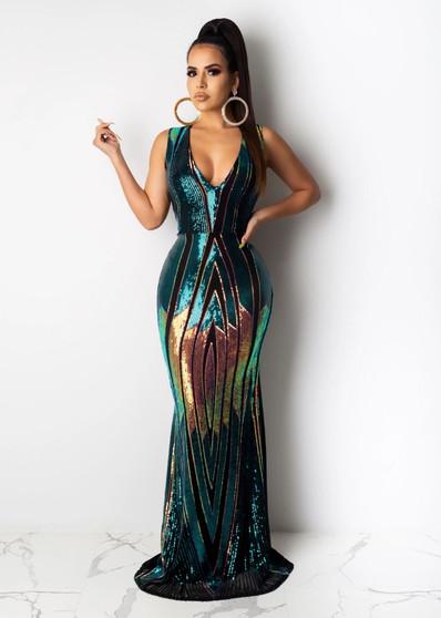 Sequinned Multicoloured Shiny Blue Long Dress