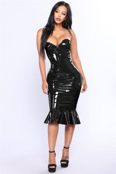 vinyl fishtail dress