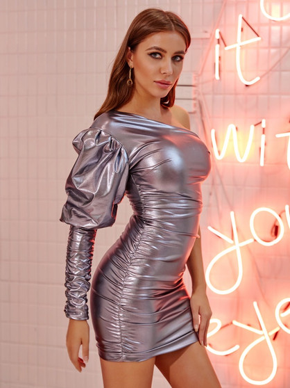 metallic silver ruffle dress