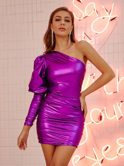 metallic purple mini dress