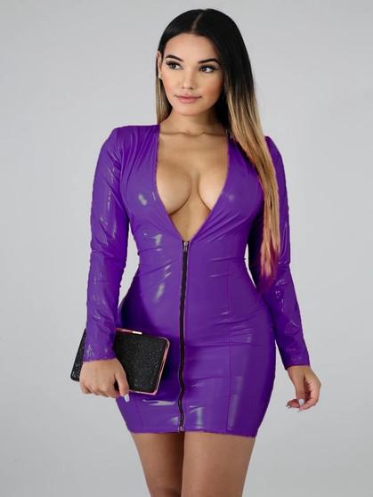 purple pvc dress