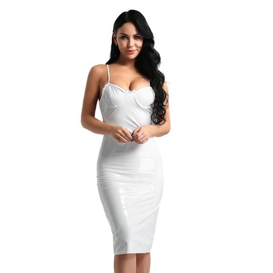 White PVC Vinyl Pencil Dress
