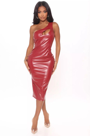 Red One Shoulder PU Vinyl Midi Dress