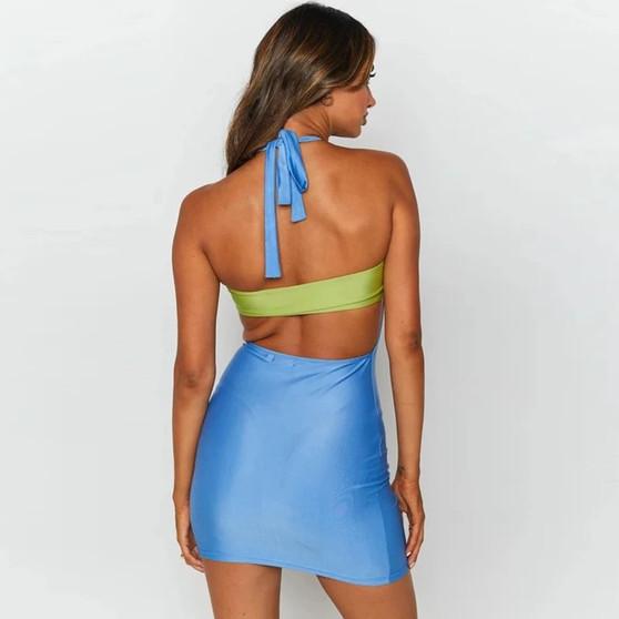 Blue/Green Halter Neck Spandex Summer Dress