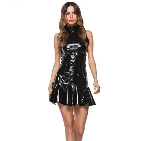 Black Vinyl PVC Sleeveless Dress