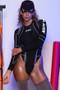 Black Spandex Turtleneck High Cut Thong Long Sleeved Bodysuit