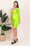 Vinyl PVC Cutout Mesh Neon Green Mini Dress