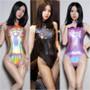 Metallic Black Shiny Rear Zipped One Piece Swimsuit