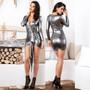Metallic Silver Ruffled Sash Mini Dress