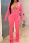 Hot Pink Spandex V Neck Jumpsuit