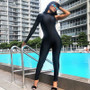 Black Spandex One Shoulder Catsuit