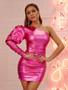 metallic pink one shoulder dress