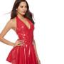 halter neck latex dress