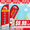 Open House feather flag - Welcome! Agent inside (red feather banner with white/yellow words)