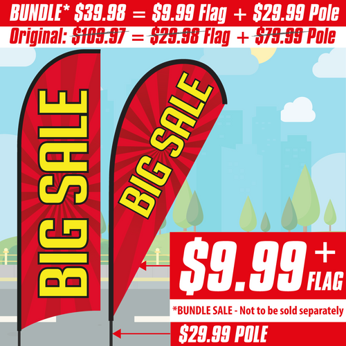 Big Sale Feather Flag (red bursting star banner with yellow words)