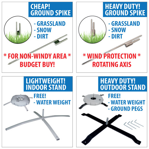 Open House feather flag pole base options : Ground Spike, Indoor Cross Base Stand & Outdoor Stand