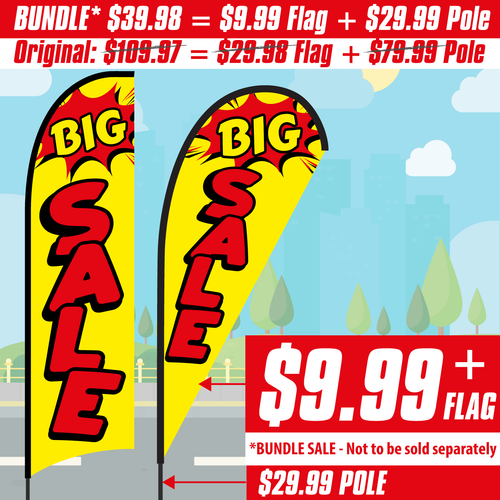 Twin Pack Swooper Flags /& Pole Kits Yellow with Red Text Stars ENTRANCE