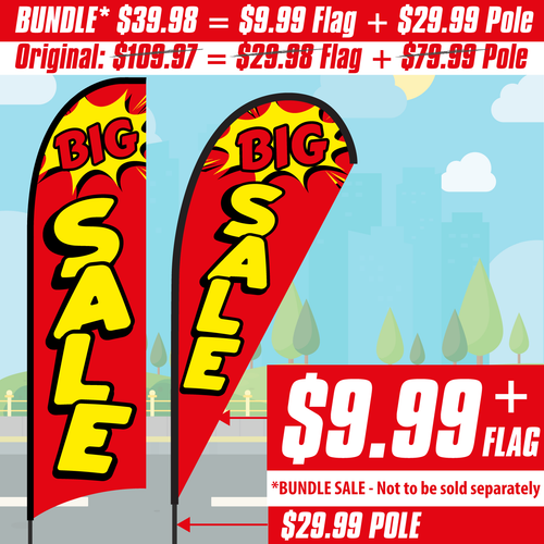 Big Sale Feather Flag (red banner with yellow vertical words)