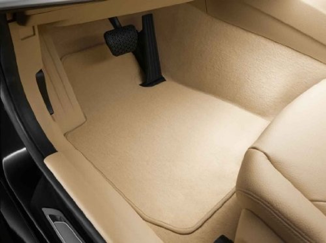 BMW Carpeted Floor Mats in Beige-Tan for F30 F31 F80 3 Series M3, FRONT + REAR