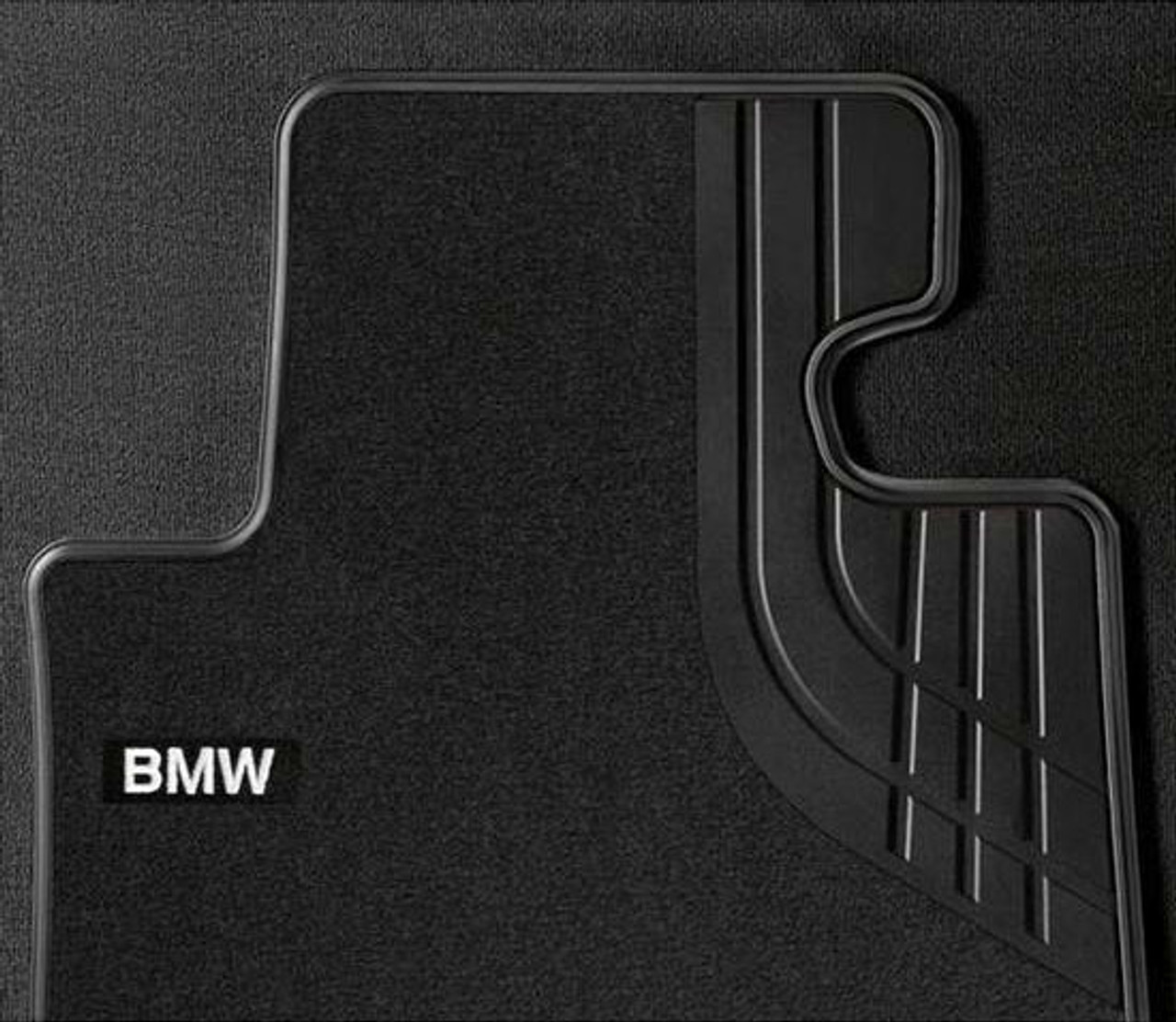 BMW Modern Line Black Carpeted Floor Mats for F30 F31 F34 F80 3 Series, FRONT