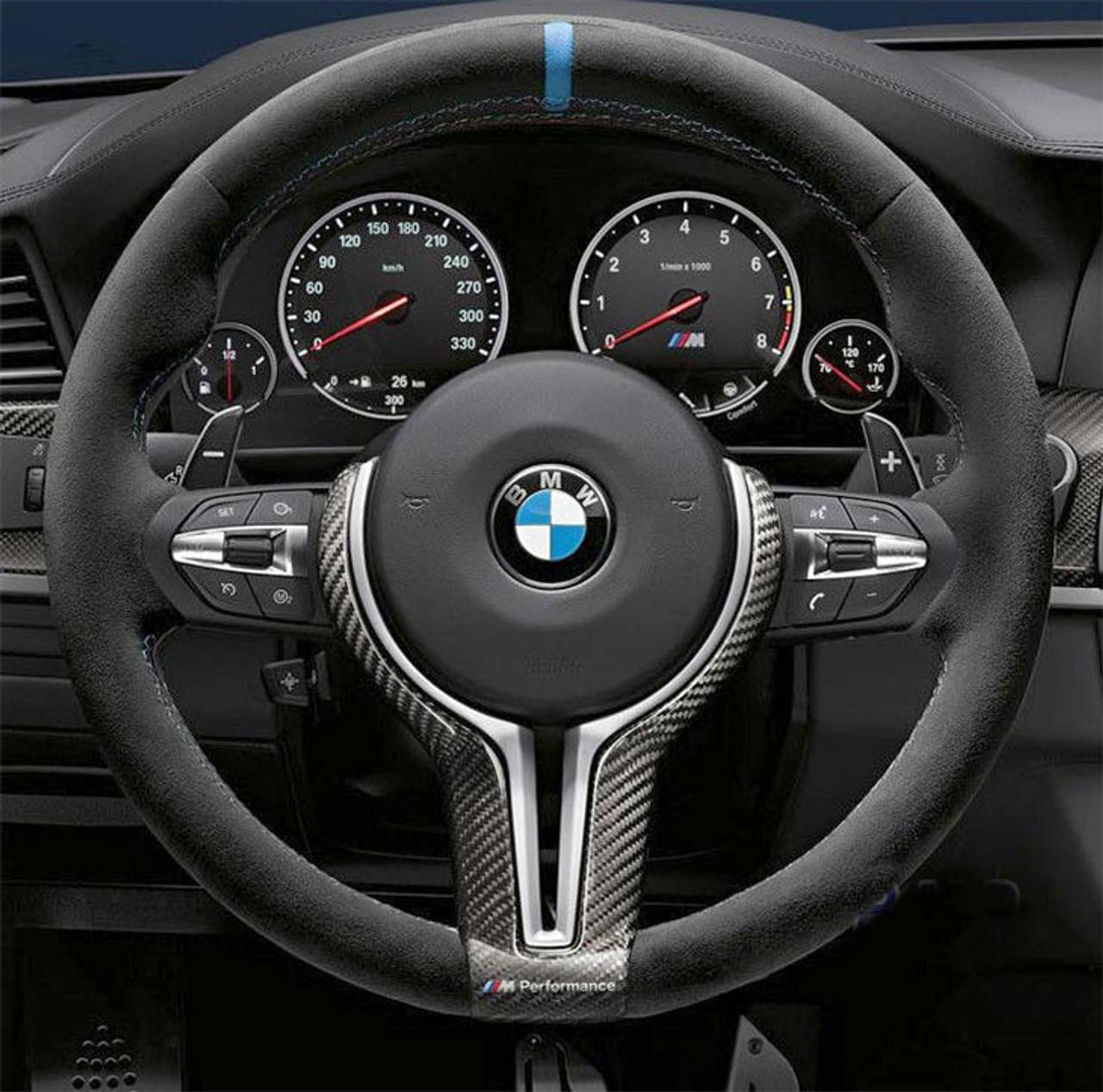 Bmw M Performance Steering Wheel Alcantara Carbon Fiber With Blue Stripe For M3 M4