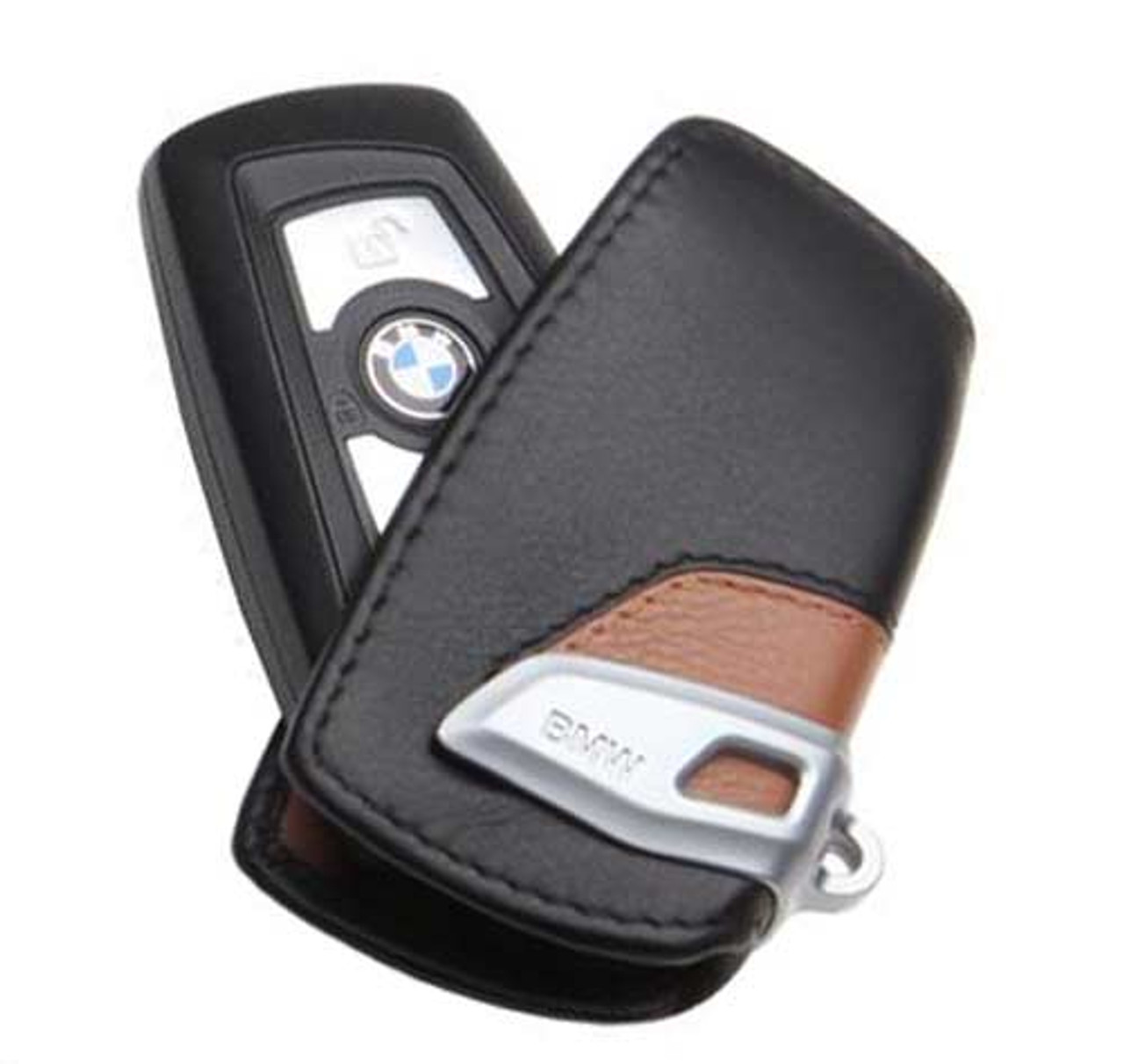BMW Luxury Line Brown Key Case FOB Holder - 2012 & Up