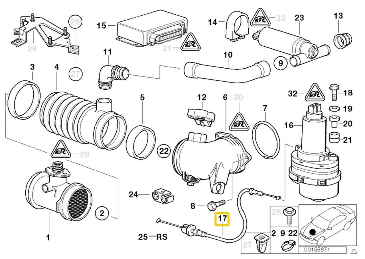 Genuine BMW e32 e34 e31 Accelerator Cable Throttle Actuator Gas Pedal Wire OEM