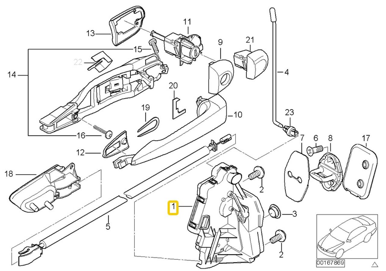 Genuine BMW e46 99-01 Door Lock assy Actuator LEFT Front mechanism locking  motor