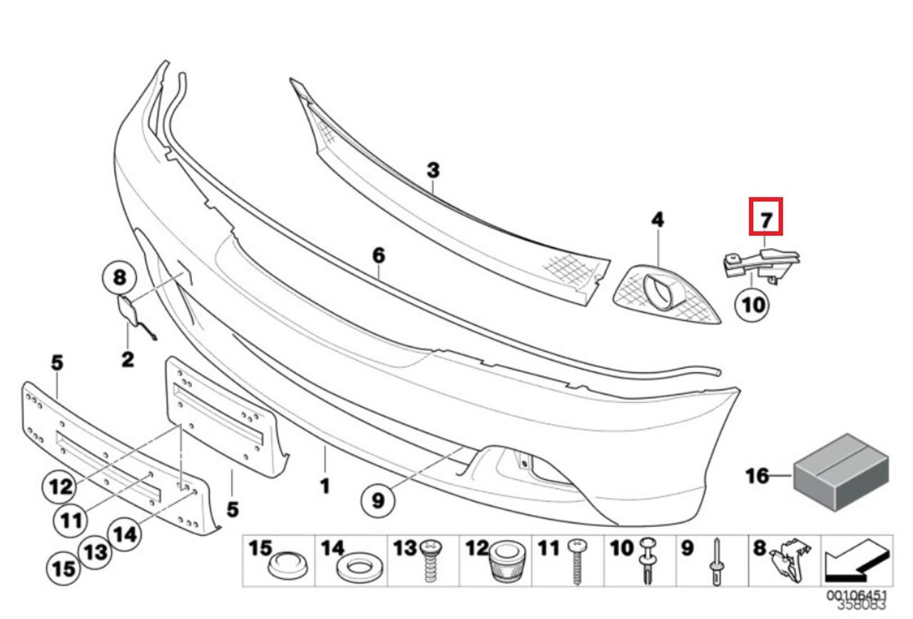 Front Right Bumper Cover Bracket X857BQ for 330Ci 325Ci 2004 2005 2006 2001 2002