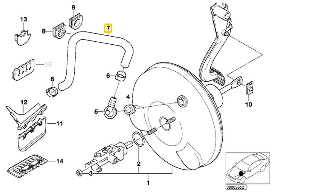 2000 bmw e46 engine diagram genuine bmw e46 320 325 330 vacuum hose manifold to brake  genuine bmw e46 320 325 330 vacuum hose