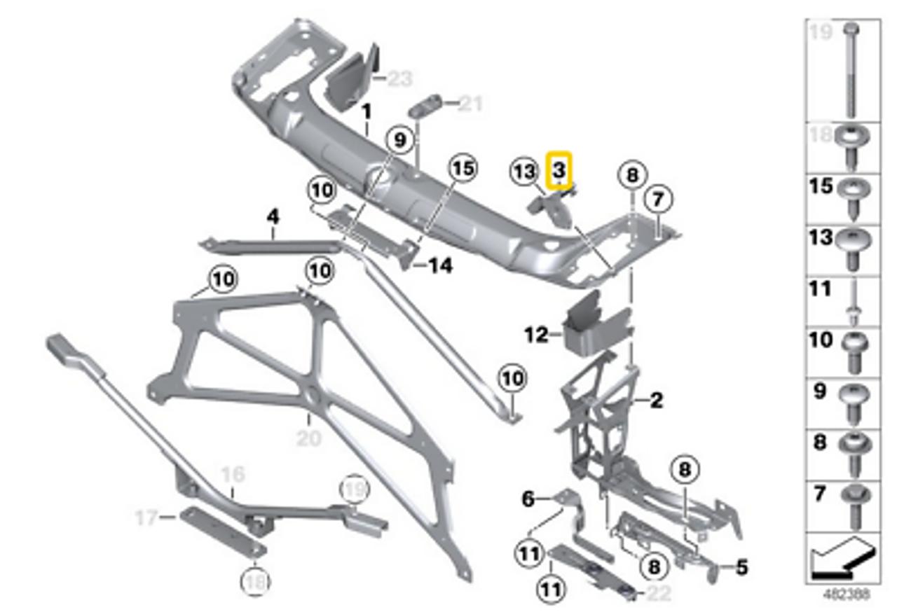 BMW 3/4 Series Headlight Bracket, Right- F30 F32 F33 F31 F36, 51647285598