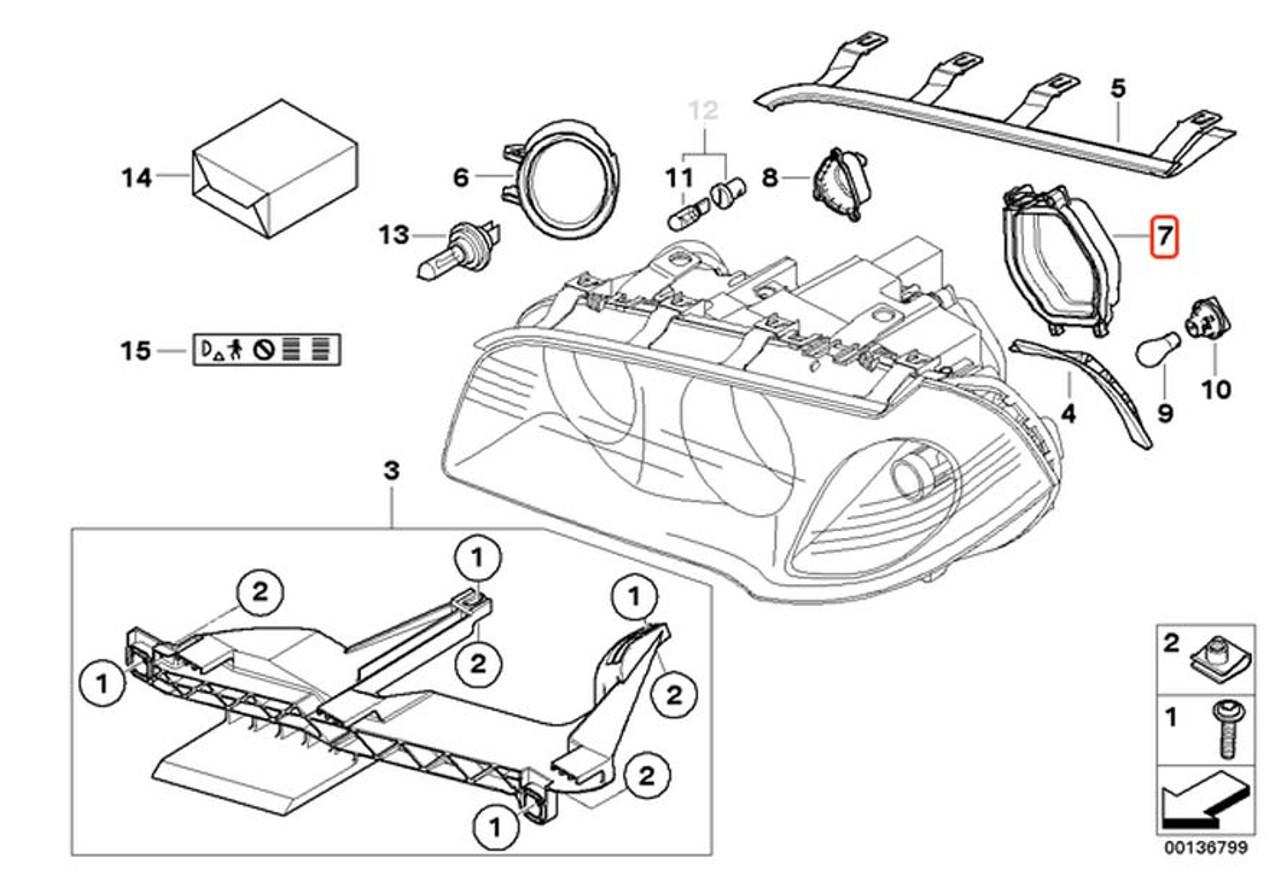 BMW Headlight Cover, For LOW BEAM 7-Series E38, X3 E83 Head Light - 63128381326